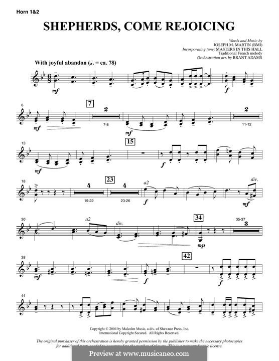 Shepherds, Come Rejoicing (from Voices of Christmas): F Horn 1 & 2 part by Joseph M. Martin