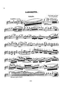 Fragmnets: Movement II. Version for violin and piano – violin part by Frédéric Chopin