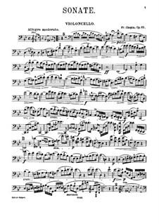 Sonata for Cello and Piano in G Minor, Op.65: Parte de solo by Frédéric Chopin