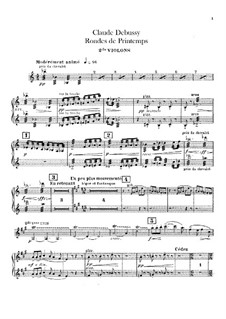 Set III, No.3 Rondes du printemps, L.122: violinos parte II by Claude Debussy