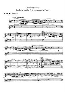 Prélude à l'après-midi d'un faune (Prelude to the Afternoon of a Faun), L.86: parte de flautas by Claude Debussy