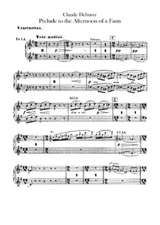 Prélude à l'après-midi d'un faune (Prelude to the Afternoon of a Faun), L.86: parte clarinetes by Claude Debussy