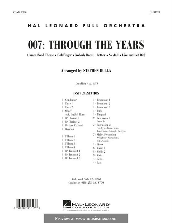 007: Through The Years: partitura completa by Monty Norman