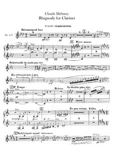 Rhapsody No.1 in G Flat Major, L.116: parte clarinetas by Claude Debussy