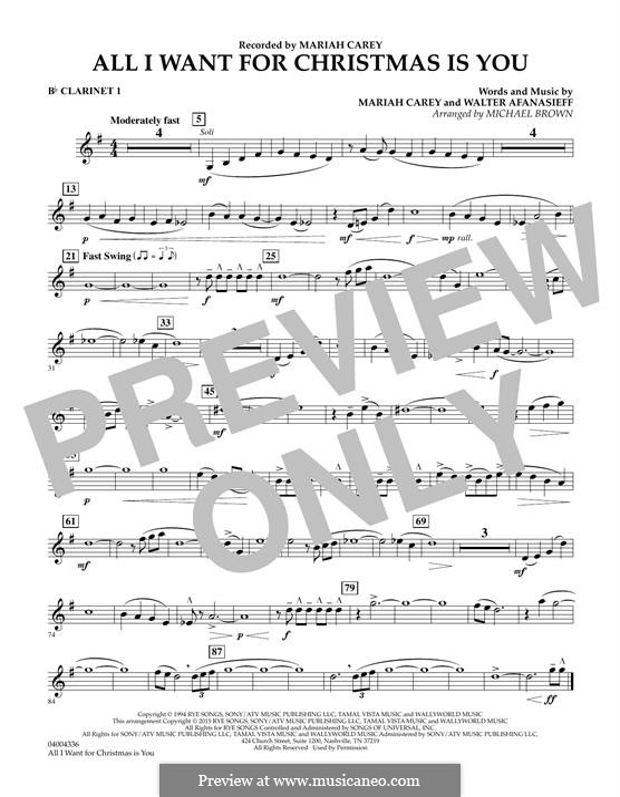 Concert Band version: Bb Clarinet 1 part by Mariah Carey, Walter Afanasieff