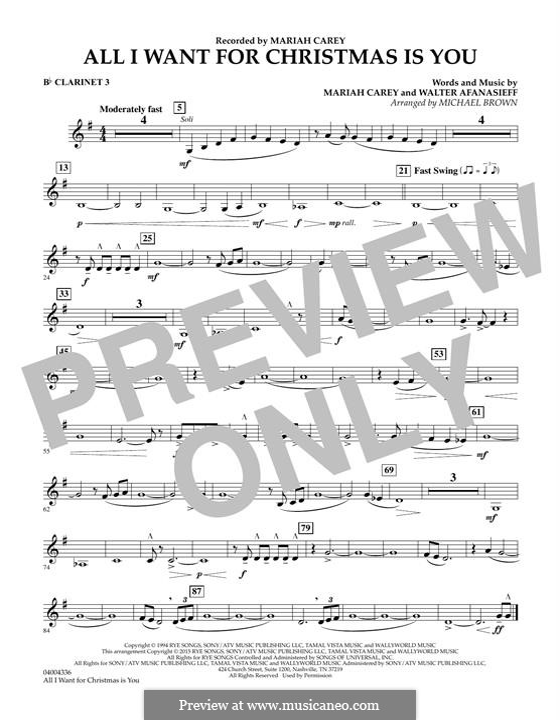 Concert Band version: Bb Clarinet 3 part by Mariah Carey, Walter Afanasieff