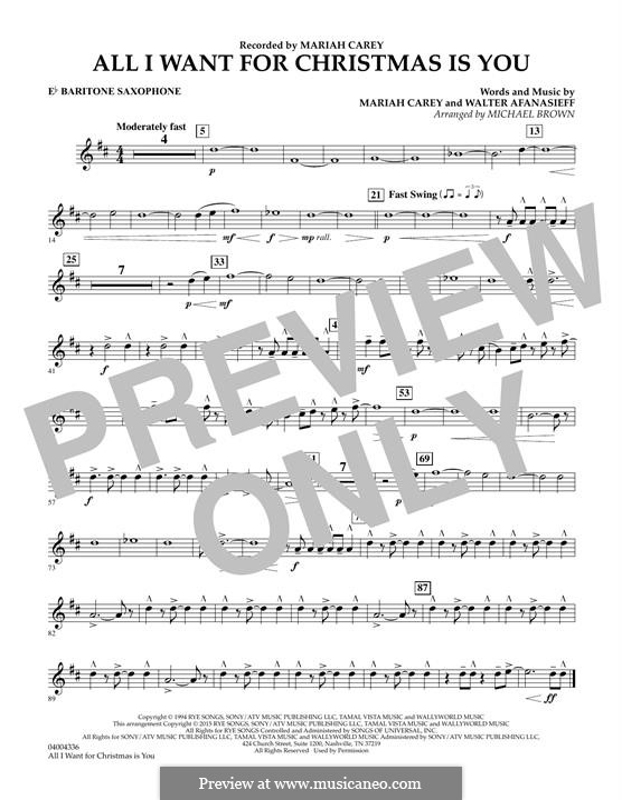 Concert Band version: Eb Baritone Saxophone part by Mariah Carey, Walter Afanasieff