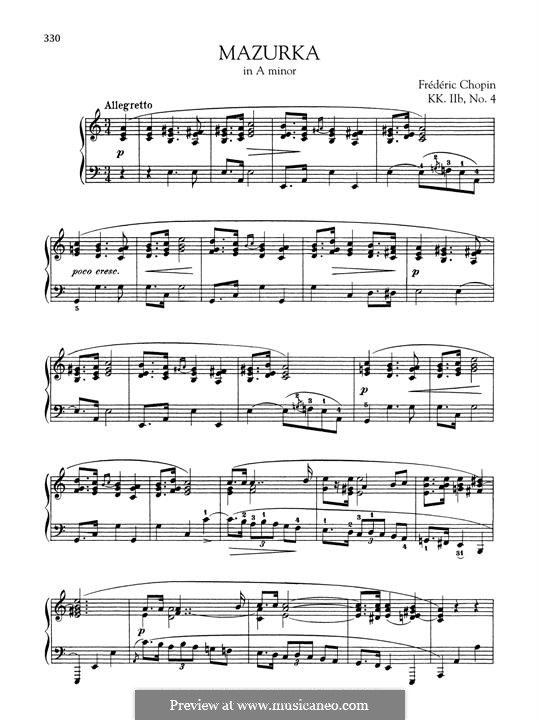 Mazurka in A Minor, B.134 KK IIb/4: Para Piano by Frédéric Chopin