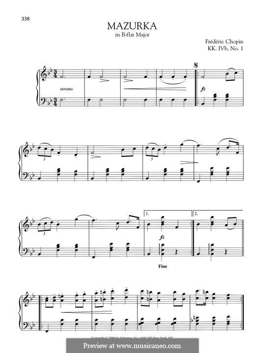Mazurka in B Flat Major, B.73 KK IVb/1: Para Piano by Frédéric Chopin