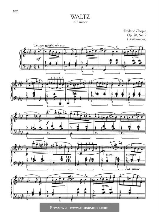 Waltzes, Op. posth.70: No.2 in F Minor by Frédéric Chopin