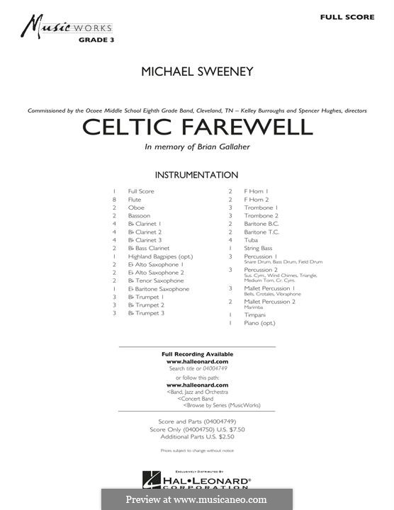 Celtic Farewell: partitura completa by Michael Sweeney