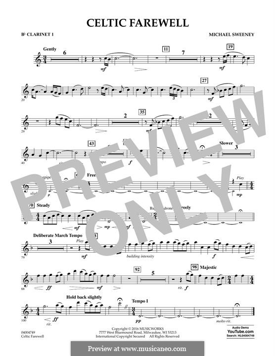 Celtic Farewell: Bb Clarinet 1 part by Michael Sweeney