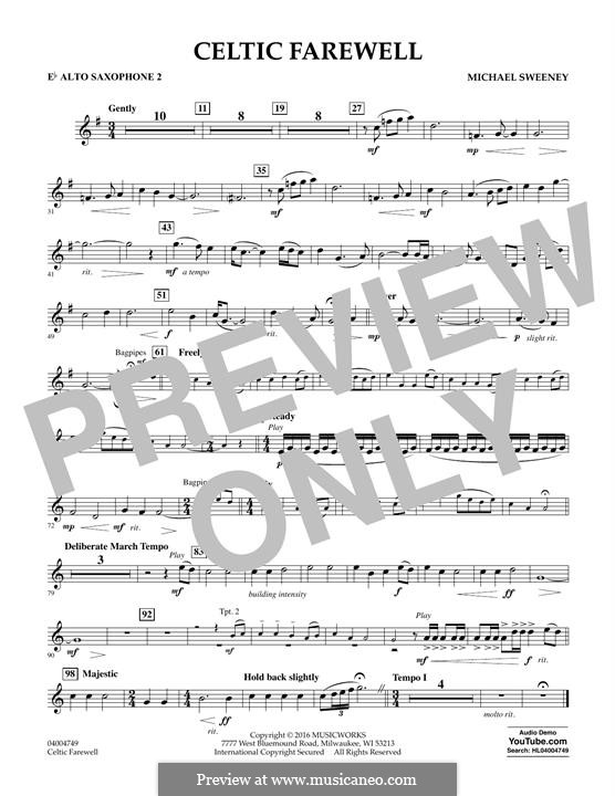 Celtic Farewell: Eb Alto Saxophone 2 part by Michael Sweeney
