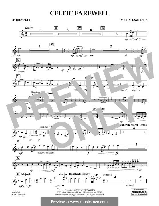 Celtic Farewell: Bb Trumpet 1 part by Michael Sweeney