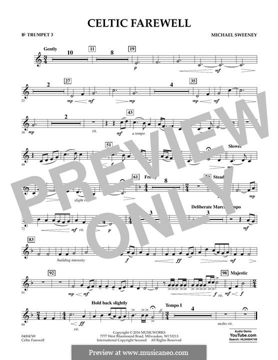 Celtic Farewell: Bb Trumpet 3 part by Michael Sweeney