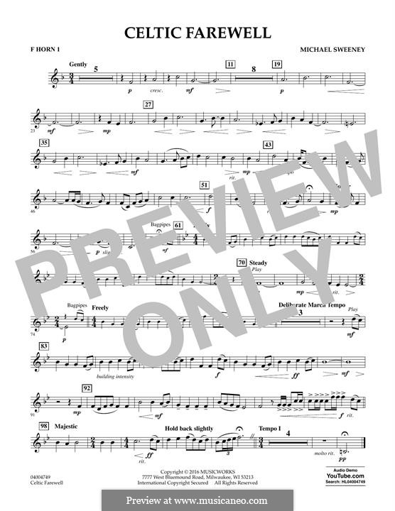 Celtic Farewell: F Horn 1 part by Michael Sweeney