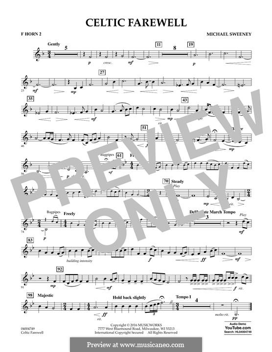 Celtic Farewell: F Horn 2 part by Michael Sweeney