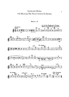 On Hearing the First Cuckoo in Spring: parte trompa by Frederick Delius