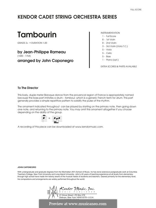 Tambourin in E Minor: For strings – Full Score by Jean-Philippe Rameau