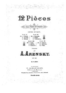 Twelve Pieces for Piano Four Hands, Op.66: Pieces No.7-9 by Anton Arensky