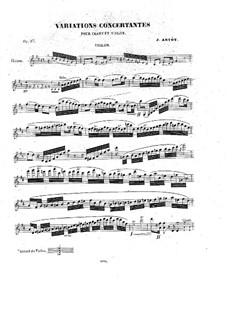 Concert Variations on Romance by Pacini for Voice, Violin and Piano, Op.17: parte do violino by Alexandre Joseph Artôt