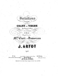 Concert Variations on Romance by Pacini for Voice, Violin and Piano, Op.17: Partitura completa by Alexandre Joseph Artôt