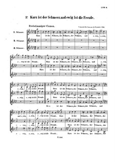 Kurz ist der Schmerz, WoO 163: Canon for three voice by Ludwig van Beethoven