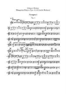 No.1, 3, 10: para orquestra - parte trompetas by Johannes Brahms