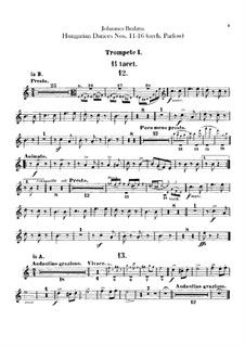 No.11-16: para orquestra - parte trompetas by Johannes Brahms