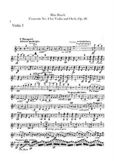 Violin Concerto No.1 in G Minor, Op.26: parte violinos by Max Bruch