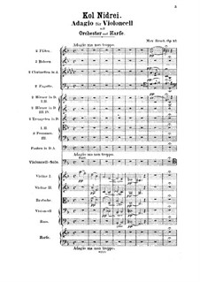 Kol Nidrei, Op.47: For cello and orchestra by Max Bruch