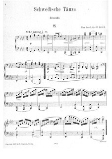 Swedish Dances, Op.63: No.8-15, for piano four hands by Max Bruch