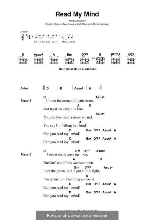 Read My Mind (The Killers): Para Guitarra by Brandon Flowers, Dave Keuning, Mark Stoermer, Ronnie Vannucci