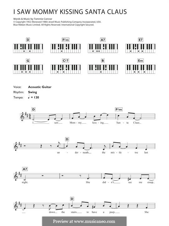 I Saw Mommy Kissing Santa Claus, for Piano: Versão Facil by Tommie Connor