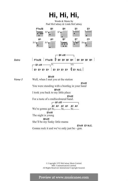 Hi Hi Hi (Wings): Para Guitarra by Linda McCartney, Paul McCartney