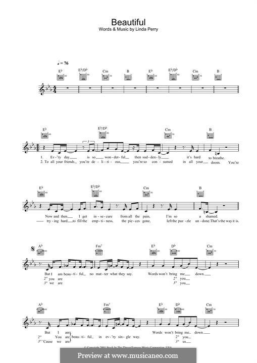 Beautifull (Christina Aguilera & Beverly McClellan): para teclado by Linda Perry
