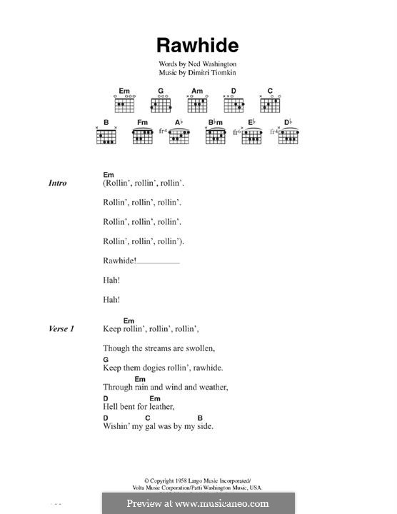 Rawhide (The Blues Brothers): Para Guitarra by Dimitri Tiomkin