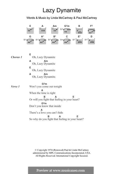 Lazy Dynamite (Wings): Para Guitarra by Linda McCartney, Paul McCartney