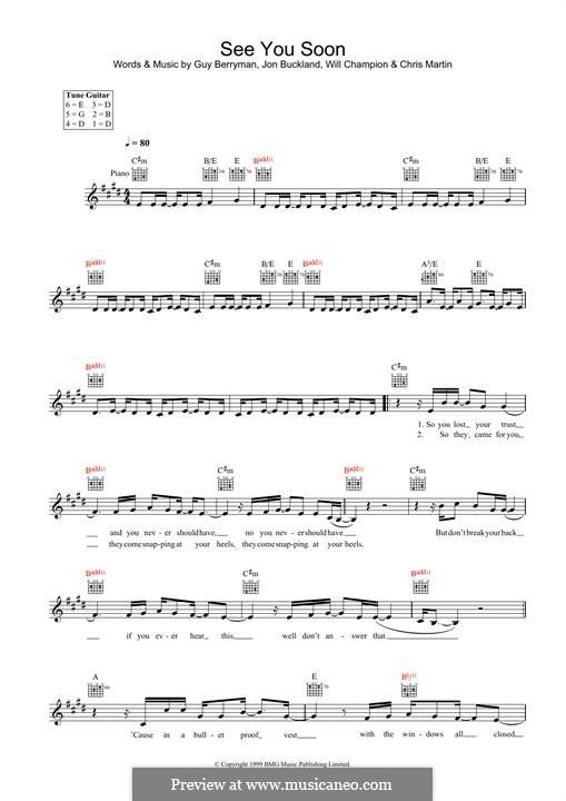 See You Soon (Coldplay): para teclado by Chris Martin, Guy Berryman, Jonny Buckland, Will Champion