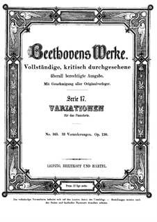 Thirty-Three Variations on a Waltz by A. Diabelli, Op.120: Para Piano by Ludwig van Beethoven