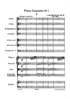Concerto for Piano and Orchestra No.1, Op.15: Partitura completa by Ludwig van Beethoven