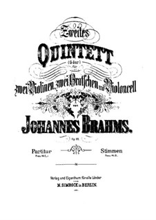 String Quintet No.2 in G Major, Op.111: Partes by Johannes Brahms