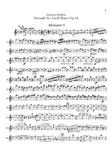 Serenade No.1 in D Major, Op.11: parte clarinetas by Johannes Brahms