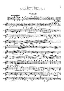 Serenade No.1 in D Major, Op.11: violino parte II by Johannes Brahms