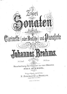 Sonatas for Clarinet (or Viola) and Piano, Op.120: Sonata No.2. Version for piano four hands by Johannes Brahms