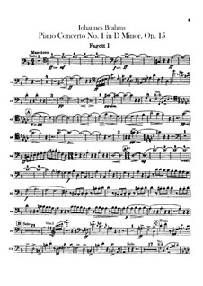 Concerto for Piano and Orchestra No.1 in D Minor, Op.15: parte fagotes by Johannes Brahms