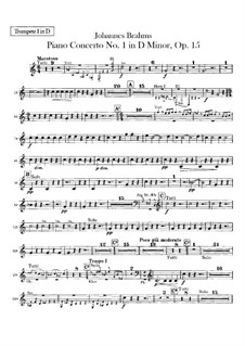 Concerto for Piano and Orchestra No.1 in D Minor, Op.15: parte trompetas by Johannes Brahms