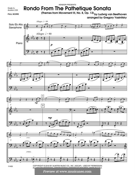 Movement III: For alto saxophone and piano – piano part by Ludwig van Beethoven