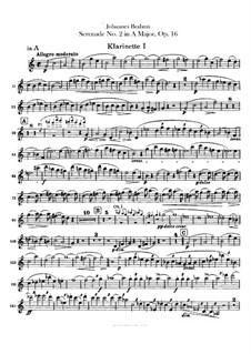 Serenade No.2 in A Major, Op.16: parte clarinetas by Johannes Brahms