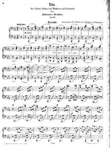 Trio for French Horn (or Cello), Violin and Piano, Op.40: versão para piano de quatro mãos by Johannes Brahms